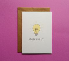 You Light Up My Life Pun Greeting Card Card For Anniversary Pun Love Card Anniversary Card Card For Him First Anniversary Card Cards For Boyfriend, Diy Gifts For Boyfriend, First Anniversary, Anniversary Cards, Anniversary Ideas, Diy Birthday, Sister Birthday, Birthday Ideas, Bday Cards
