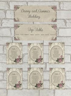 Vintage Style Wedding Table Plan Seating Planner Party Chart Rose Shabby Chic Personalised Wedding Table Planner, Wedding Top Table, Seating Planner, Peter Rabbit Gifts, Vintage Style, Vintage Fashion, Table Cards, Table Plans, Gift Tags