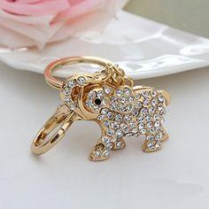 Click Down 1pcs Bling Rhinestone Lovely Elephant Metal Keychain Keyring