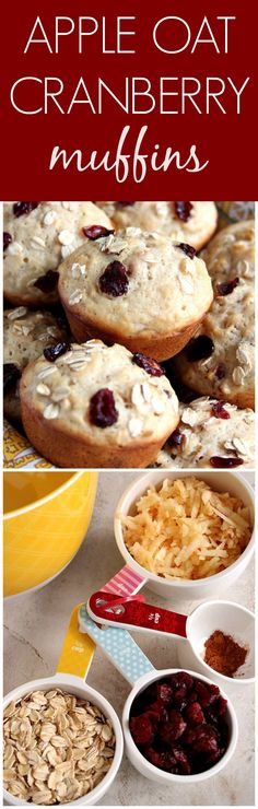Apple Oat Cranberry Muffins recipe – fluffy and moist muffins with ...