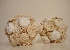 Bridesmaid Fabric Bouquet Vintage Wedding  by bouquets4love, $60.00