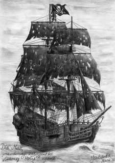 Black Pearl Tattoo Design - Black pearl pirate ship with the Jolly Roger flag. Pirate Ship Tattoos, Pirate Tattoo, Pirate Art, Pirate Life, Pirate Ships, Sextant Tattoo, Pirate Ship Drawing, Jolly Roger Flag, Bateau Pirate