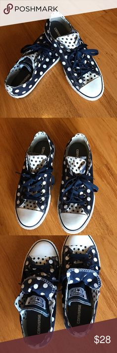 Converse shoes Nice polka dots double tongue sneakers in excellent condition!! Converse Shoes Sneakers