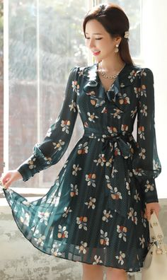 StyleOnme_Floral Dot Patterned Ruffle Flared Dress #green #floral #dot #ruffle #dress #feminine #koreanfashion #kstyle #kfashion #springtrend #dailylook