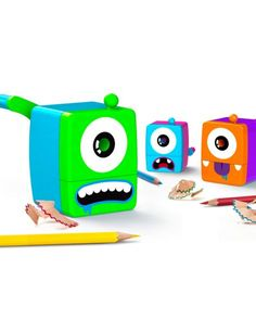 Mini Monsters Sharpeners are always starving to sharpen and make keeping pencils perfectly honed plenty of fun. The plastic pencil sharpeners come in three colours, and each has its own funny design.