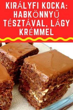 Habkönnyű tésztával! #tészta #kocka #sütemény Hungarian Desserts, Hungarian Recipes, Smoothie Fruit, Pizza Snacks, Cake Bars, No Bake Cake, Oreo, Dessert Recipes, Food And Drink