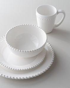 16-Piece Bianca Beaded-Edge Dinnerware - traditional - dinnerware - Horchow