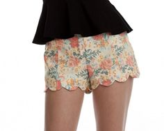 Lush Women's Fashion Yellow Floral Scallop Shorts