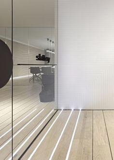 Pop-Up Office Integrated floor lighting - Slattery Australia by Elenberg Fraser office design Liz Caan Interiors Australian Interior Design, Interior Design Awards, Interior Work, Interior Paint, Corporate Interiors, Office Interiors, Commercial Design, Commercial Interiors, Floor Design