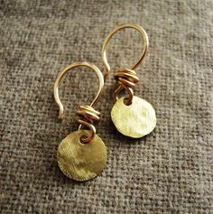 Tiny Gypsy Earrings (solid brass round gold earring hand hammered) fall autumn winter fashion. $24.00 USD, via Etsy.
