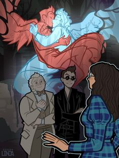 Good Omens 'Auras' Headcanon Completely inspired by the amazing art piece did of Anathema being able to see Crowley and Aziraphale's auras embracing. It started out as a short headcanon. Michael Sheen, Neil Gaiman, Anime Angel, Fanart, Drarry, Movies Showing, Movies And Tv Shows, Duelo Xiaolin, Animé Fan Art