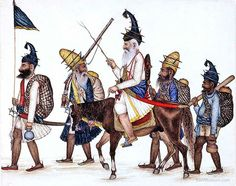 Drawing of a Sikh convoy from the grand days of the empire, 1799-1849
