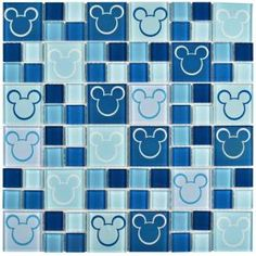 Disney Mickey Blue 11-3/4 in. x 11-3/4 in. x 5 mm Glass Mosaic Tile WDSMKY27 at The Home Depot - Mobile