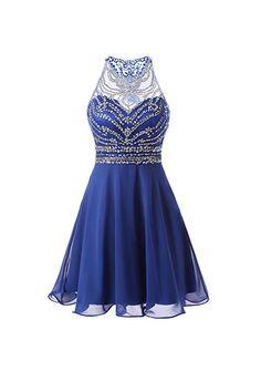 A Line Chiffon Blue Homecoming Dresses Short Prom Dresses PG090