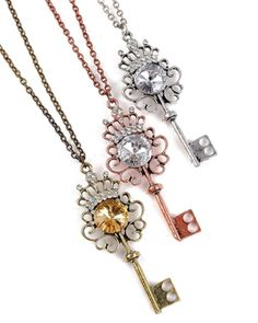 Dazzling Key To Your Heart Pendant Necklace