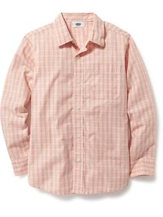 Long-Sleeve Button-Front Shirt for Boys in Just Preachy (this would need to be compared to dress. Imagine with rolled sleeves and khaki shorts)