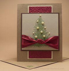 Handmade Christmas Card with Embossed Red by ElegantlyHaunted, $5.00