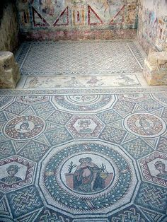 The Villa Romana del Casale at Piazza Armerina (Sicily) is late 3rd - early 4th Century AD.  The fine mosaics have survived because the villa was buried in a mud slide in the 12th century.  File:Villa del casale 1.jpg