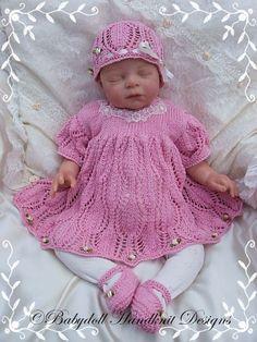 "Lacy Dress Set for 16-22"" dolls/0-3m baby-knitting pattern, doll, baby, babydoll handknit designs"