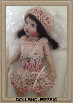 "Hand Knitted&Crocheted outfit for 7.5-8"" Kish Riley Helen Kish,Tonner BJD 