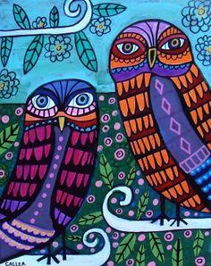 OWLS FOLK ART poster print of Painting by HeatherGallerArt on Etsy, $24.00