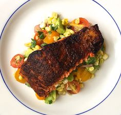 Blackened Salmon with Corn, Tomato, and Avocado Salad