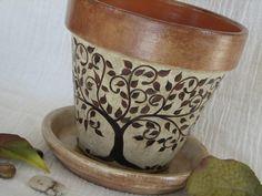 Painted clay pot tree
