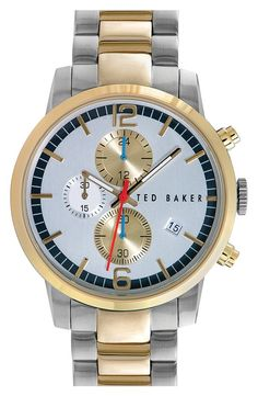 Ted Baker 'Classic Vintage' Chronograph Two-Tone Bracelet Watch, 42mm