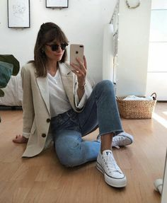Converse Outfits, Blazer Outfits, Indie Outfits, Cute Outfits, Fashion Outfits, Fall Winter Outfits, Autumn Winter Fashion, Summer Outfits, Look Blazer