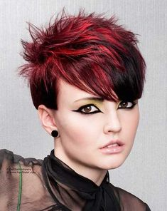 Nice and attractive pixie cut whit spiky top, nice bangs and an interplay of dark red and black colors ♥♥
