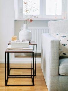 side tables in a scandinavian living room