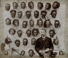 Major General Horatio Gordon Robley with his collection of tattooed Maori heads, 1895
