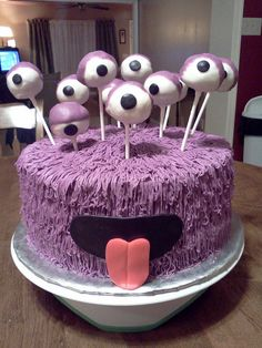 """Purple Monster Cake..."" I am absolutely in L❤ve with this ADORABLE little monster.!!! ✿◕‿◕✿ Cake Magique, Monster Cake Pops, Monster Cakes, Creative Cakes, Celebration Cakes, Purple Cake Pops, Pink Purple, Beautiful Cakes, Cake Designs"