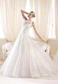 A line Jewel Neck Lace & Tulle Floor Length Court Train Wedding Dress With Appliques - Lunadress.co.uk #lace wedding dress