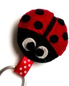 Felt ladybug keychain  ladybird  felt accessories  by grabacoffee