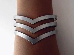 chevron cuff bracelet / triple chevron cuff / by AshkalJewelry