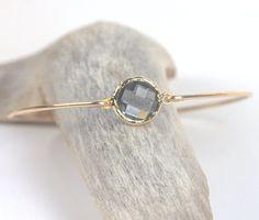Charcoal Quartz and Gold Filled Bangle Bracelet by TheresaRose