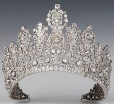 Grand Diadem (aka Empire Tiara) of Luxembourg, ca. - Worn by Grand Duchess Charlotte at her wedding to Prince Felix of Bourbon-Parma, time princess tiara Crown Royal, Royal Crowns, Royal Tiaras, Tiaras And Crowns, Ice Crown, Diamond Tiara, Royal Jewelry, Silver Jewellery, Circlet