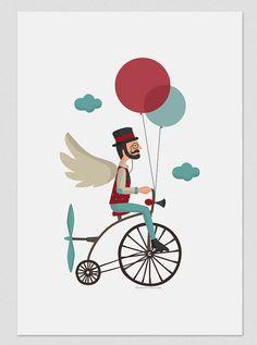 Illustration. Fliyng time. Print A4 by Tutticonfetti on Etsy