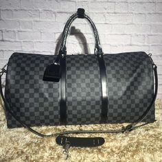 e731c84a5cf2 Louis Vuitton Damier Graphite Canvas Keepall 55 Bandouliere Bag N41418 2016   Louisvuittonhandbags