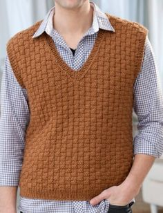 Men's Sweater Knitting Patterns Free Knitting Pattern for Men's Basketweave Vest - Textured vest in S, M, L, XL, XXL. Designed by Jodi Lewanda. Mens Vest Pattern, Crochet Vest Pattern, Sweater Knitting Patterns, Knit Patterns, Free Knitting, Free Pattern, Knitting Ideas, Fashion Trends 2018, Fashion Models
