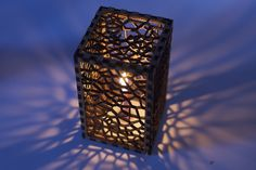 Laser cutter candle holder or lamp. He even includes scripts for the patterns. Diy Laser Cutter, Laser Cutter Projects, Laser Cut Lamps, Laser Cut Wood, Impression 3d, Candle Stand, Candle Holders, Plotter Cutter, Plasma Cutting