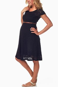 Black-Lace-Belted-Maternity-Dress