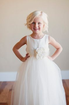 Ivory flower girl dress...Silk Flower Girl Dress with 6 layer, lined tulle skirt  and a lace flower belt.... $140.00, via Etsy.