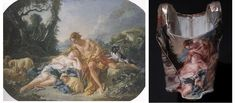 Vivienne Westwood and the wallace collection    18th century inspired corsets feature photographic prints of paintings by Francois Boucher 'Daphnis and Chloë (Shepherd watching a sleeping shepherdess)' (1743-5) Wallace Collection.