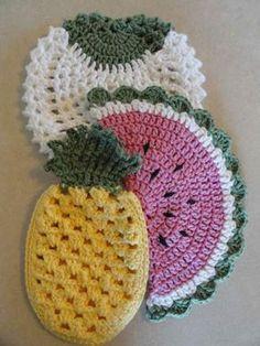 55 Ideas For Crochet Dishcloth Pattern Website Crochet Fruit, Crochet Food, Crochet Kitchen, Crochet Gifts, Crochet Flowers, Pineapple Crochet, Crochet Potholders, Crochet Motif, Crochet Geek