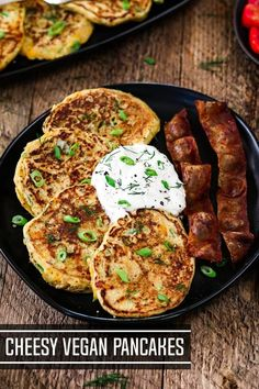 Cheesy Vegan Savory Pancakes – The perfect way to start your morning! Loaded with cheddar cheese & green onions, these pancakes are flavor-packed & satisfying! Who can resist? Vegan Pancake Recipes, Vegan Snacks, Brunch Recipes, Vegetarian Recipes, Cooking Recipes, Vegetarian Cake, Vegetarian Breakfast, Breakfast Club, Vegan Food