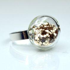 Champagne color big glitter in round blown glass silver tone Ring