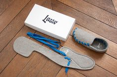 Lasso: Flat Packed Slippers, single piece of felt plus lace