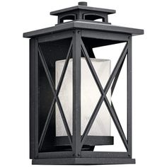 """Kichler Piedmont 15""""H Distressed Black Outdoor Wall Light - #17V67 